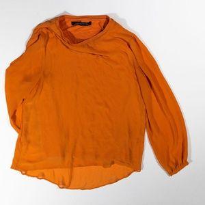 Zara Orange Sheer Chiffon Long Sleeve Sweater Top